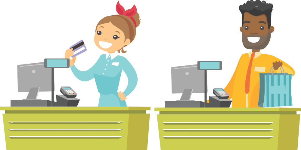 Featured top-of-page image for 251 Group web design price menu depicting cartoon of male and female cashiers smiling and ready to serve customer.