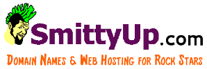 """Logo for SmittyUp.com featuring cartoon mascot """"Smitty"""" with green mohawk"""