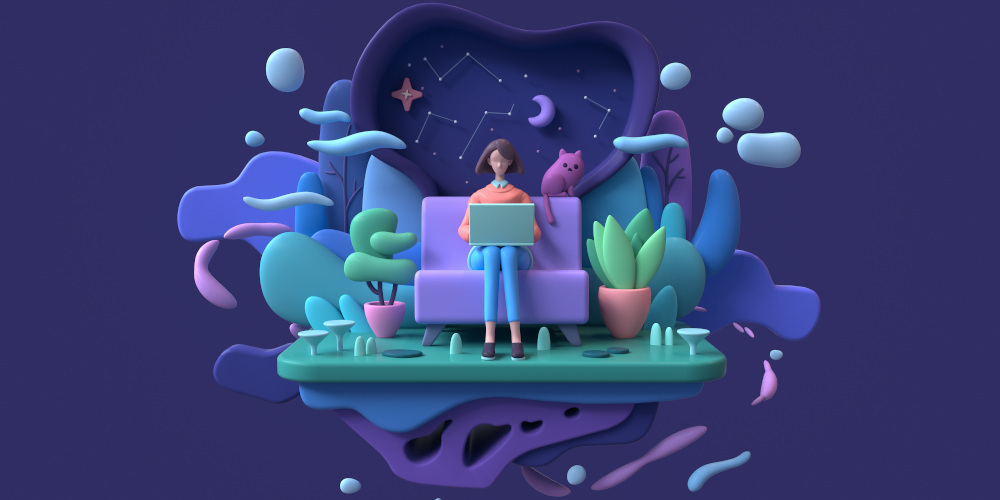 Featured image for Domain Name Registration page on 251 group dotcom depicting 3D clay-like figures of woman on sofa with laptop and her cat sitting behind her set against a purple background.